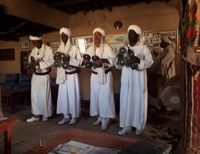 Gnaoua people at khamlia, a place you will visit with our 5 days Morocco tour from Marrakech to Merzouga desert